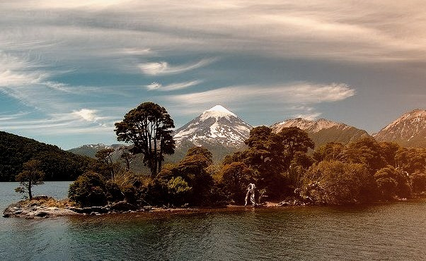 by Laurent L. on Flickr.Lago Huechulafquen with Volcan Lanin in the background - Patagonia, Argentina.
