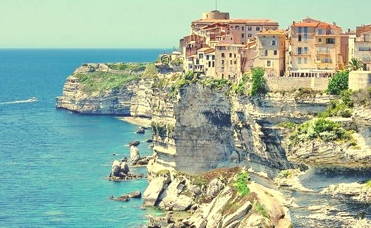 by paspog on Flickr.Hanging over the sea, the town of Bonifacio in Corsica, France.