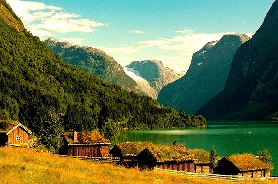 Houses on the shores of Lake Loen, Norway