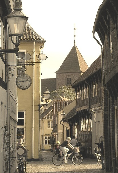 Fiskergade is one of the most idyllic streets in old Ribe, Denmark