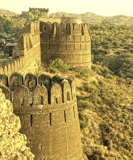 The walls of Rohtas Fort in Punjab, Pakistan
