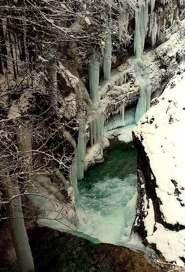 Frozen Rissbach Gorge in Bavaria, Germany
